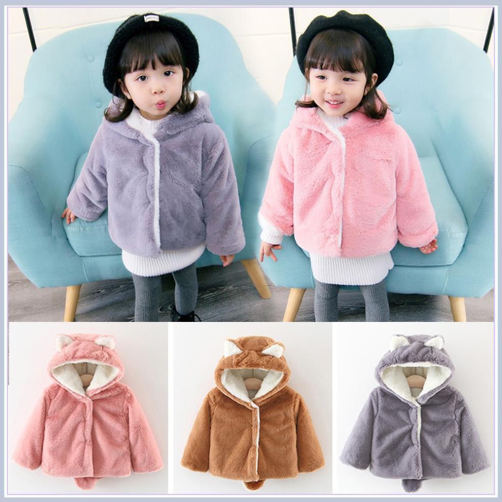 Áo khoác lông 2 lớp (6 tháng-3 tuổi) cao cấp cho bé thu đông có mũ