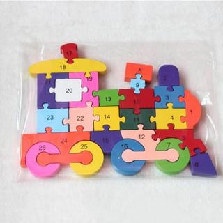 kids Alphabet Train Puzzle Assembled Building Blocks Wooden Toy