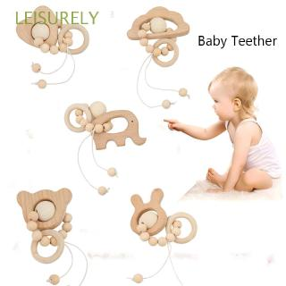 LEISURELY DIY Pendant Baby Christmas Gift Natural Chewable Stroller Accessories Nursing Crochet Wooden Teething toys