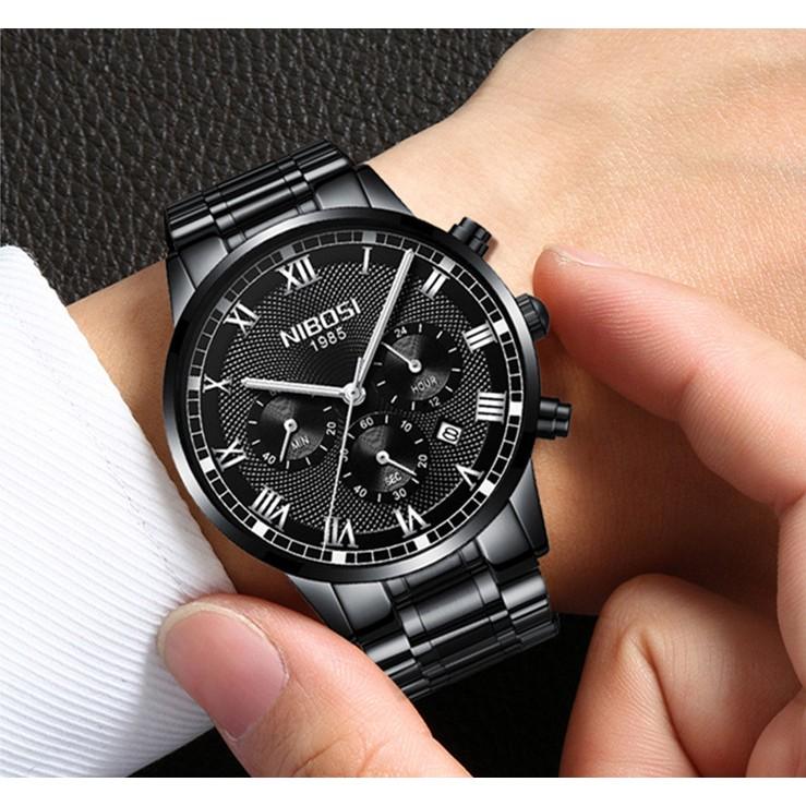 Đồng hồ nam Nibosi 6 kim dây thép đặc 2339 fullbox
