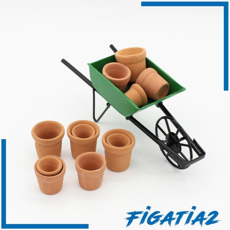 [FIGATIA2] 12 Pieces 1/12 Dollhouse Miniatures Flowerpots for Dolls Garden Accs