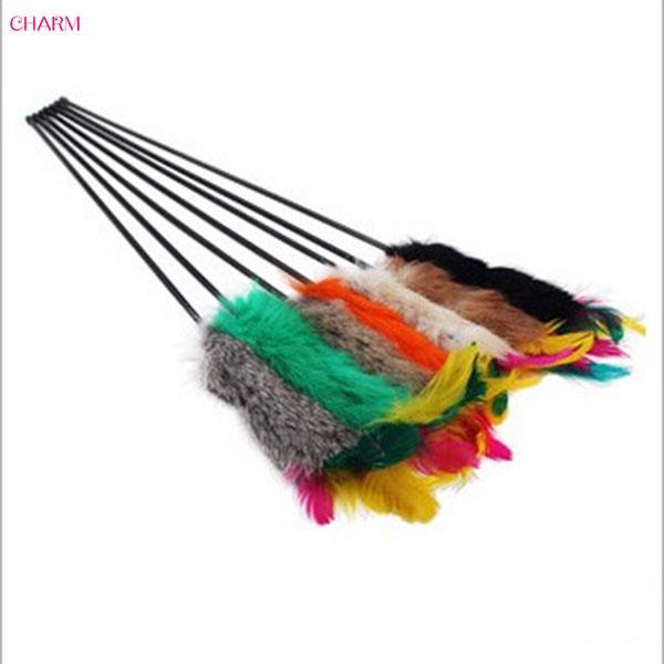 Hand Created Cony Hair Toy Cat Feather Bell Wand Teaser Rod Bead Play