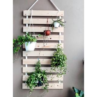 Giá treo cây cảnh trang trí ban công bằng gỗ thông tự nhiên M2pi H9 thumbnail