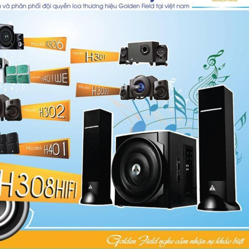 Loa Golden Field H308 HIFI/2.1(usb, Bluetooth,SD,FM)- Tặng 3 móc treo siêu dính thần thánh