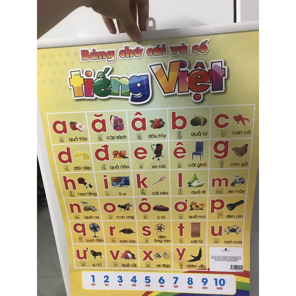 Bảng chữ cái và số 2 mặt song ngữ