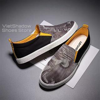 Slip on nam - Giày lười vải nam cao cấp thương hiệu LEYO - Vải lưới 2 màu xám đen và xám xanh - Mã SP LY55 thumbnail