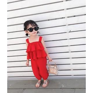 Bộ đồ bé gái áo tai bèo màu đỏ - BB02D