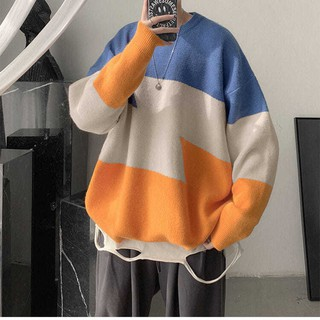 Autumn and winter menswear trend ins Hong Kong style contrasting thicker sweater men s Korean version of the stitching forest coat
