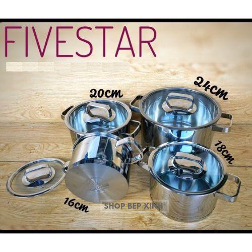 Bộ nồi 3 đáy inox 304 FiveStar Plus FS08CG-304  bếp từ 4 chiếc nắp KÍNH ( nồi 16cm x nồi 18cm x 1 nồi 20cm x 1 nồi 24cm)