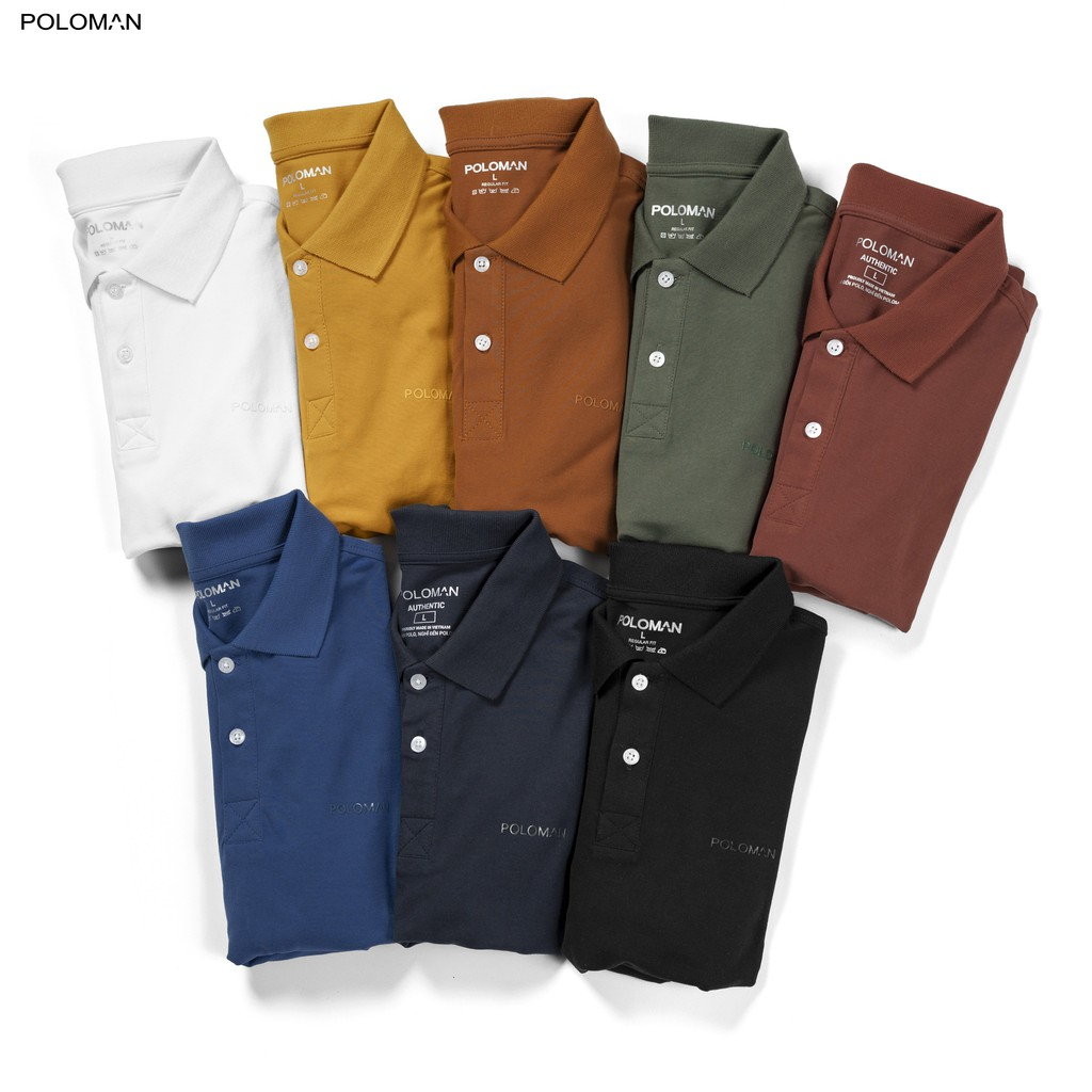Áo thun POLO nam cổ bẻ BASIC vải cá sấu Cotton trẻ trung 6 màu - POLOMAN