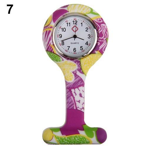 Đồng hồ bỏ túi bằng Silicon họa tiết in hoa cho y tá