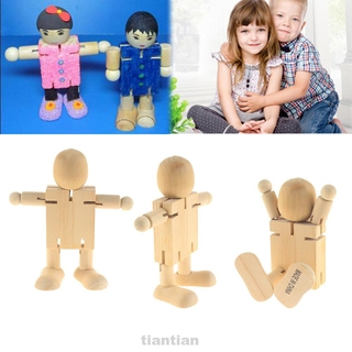 2pcs Educational Toy Home Decoration Desktop Rotatable Joint DIY Painting Wooden Robot