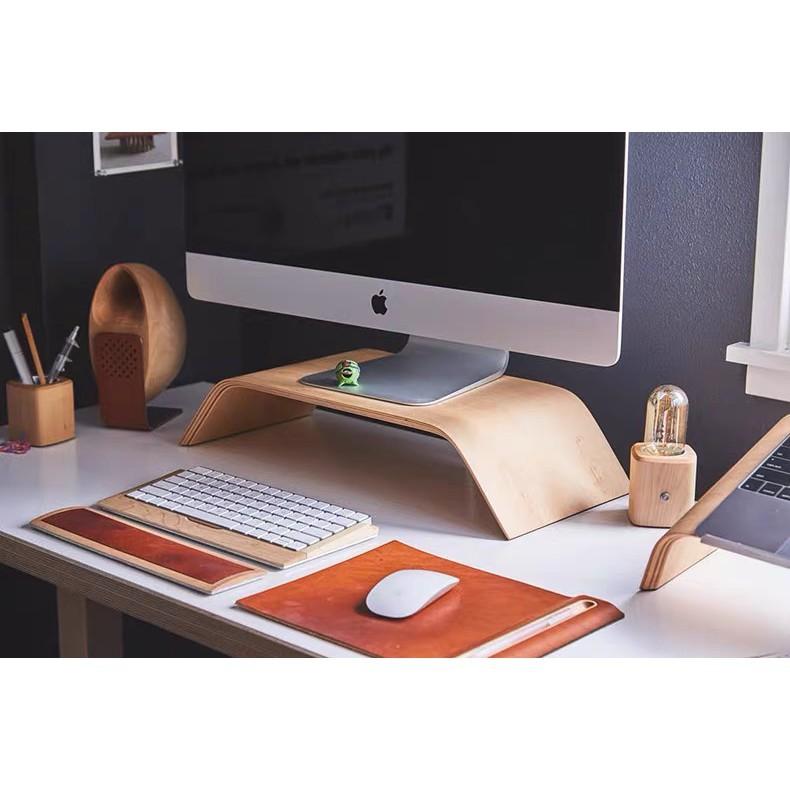 Kệ màn hình máy tính, Kệ Imac, Kệ kê màn hình gỗ uốn cong PlyConcept Imac Stand - Veneer Sồi tự nhiên.