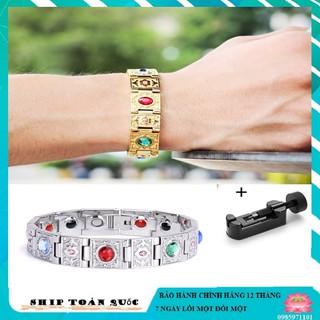 Vòng đeo tay điều hòa huyết áp,ổn định huyết áp,vòng tay công dụng như vòng toma (màu bạc- vàng) thumbnail