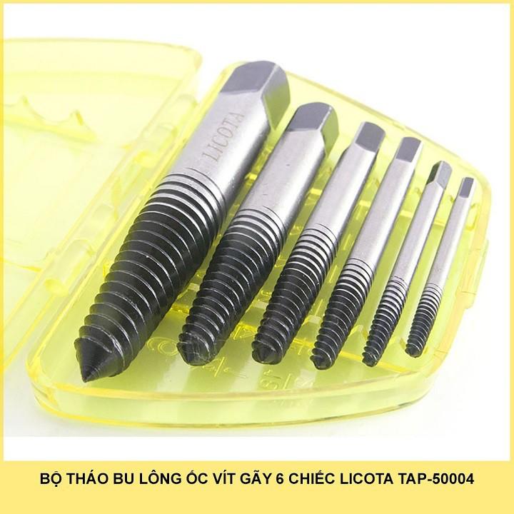 Hộp dụng cụ mũi vít tháo bu lông ốc vít gãy hỏng 6 chiếc Licota Tap-50004