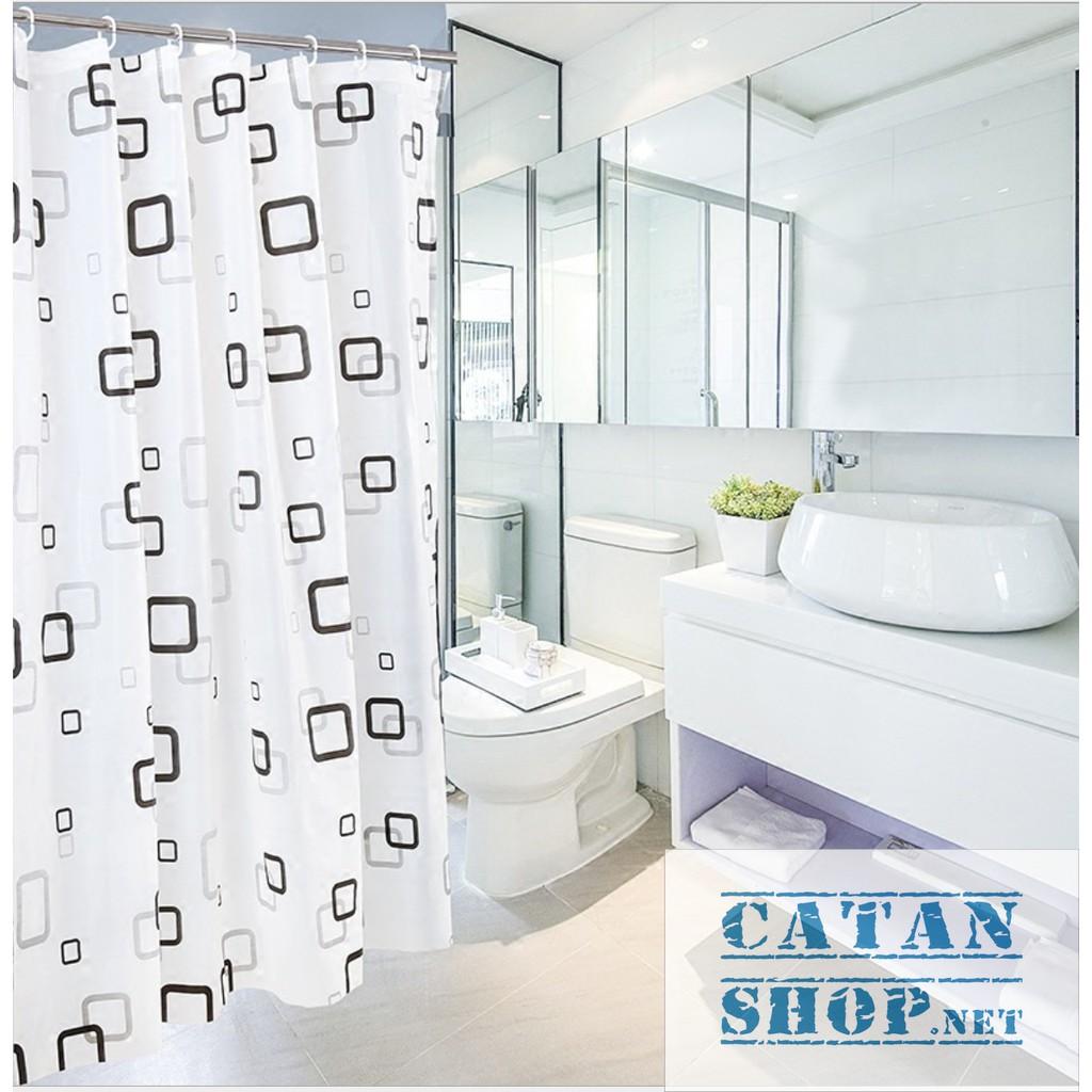 Rèm Nhà Tắm Chống Thấm Nước Cao Cấp Gọn Nhẹ Vải Nhựa Chống Nước 100% (TẶNG MÓC TREO RÈM) Màn Che Cửa, màn ngăn nước