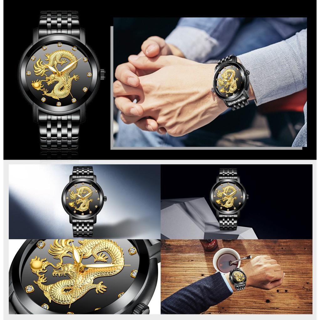 Đồng hồ nam mặt chạm rồng BIDEN B2045 day hợp kim thép không gỉ cao cấp + Tặng vòng tay tỳ hưu