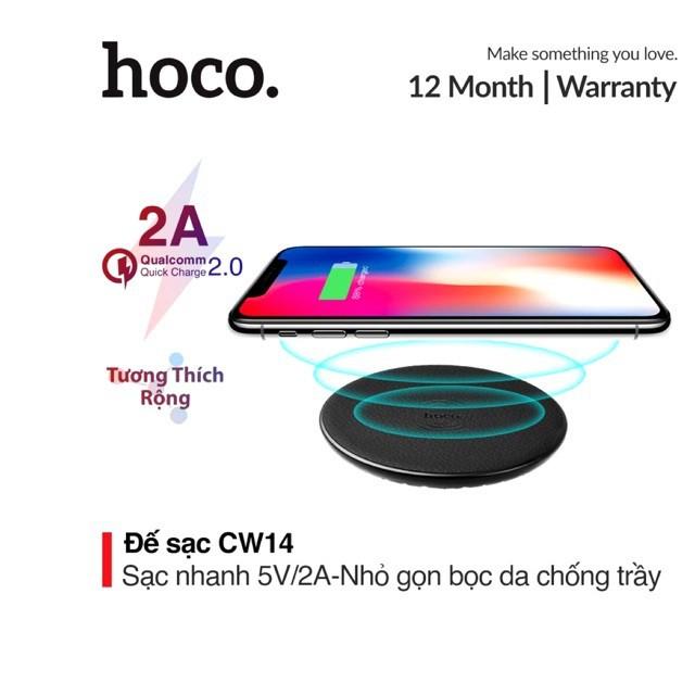Đế sạc nhanh không dây 2A Hoco CW14 bọc da chống trầy tích hợp đèn Led thông minh cho Smartphone