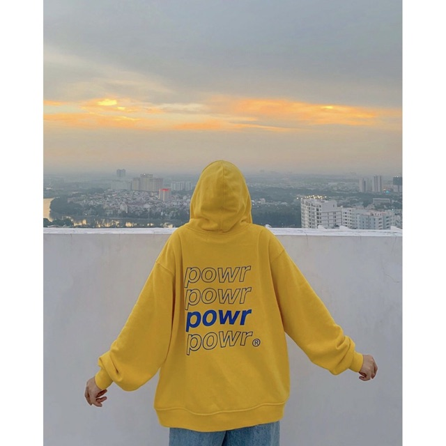 Áo khoác nỉ hoodie power unisex phom rộng cá tính
