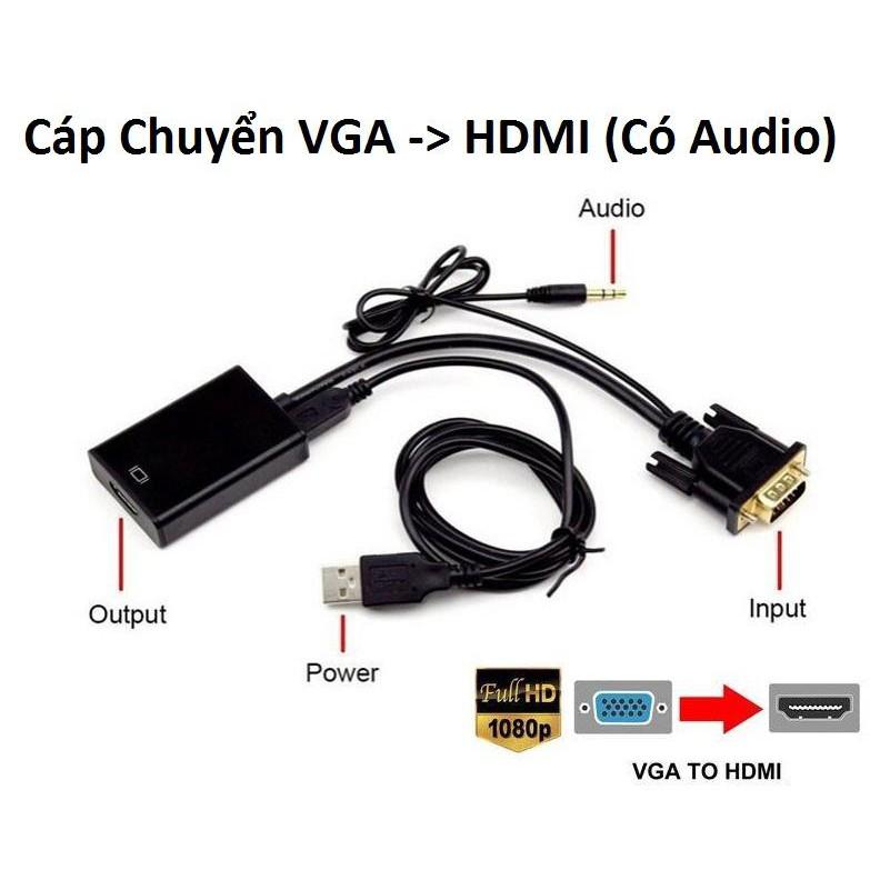 Cáp Chuyển VGA sang HDMI có audio (đen)