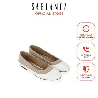[Mã FAMALLT5 giảm 15% đơn 150k] Giày búp bê phối vải tweed - Sablanca 5050BB0048