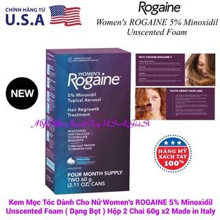 Kem Mọc Tóc Cho Nử Women's Rogaine 5% Minoxidil Unscented Foam(Dạng Bọt)Hộp 2 Chai 60g x2 Hàng Italy