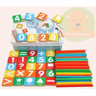 Hộp bảng số học và que đếm bằng gỗ