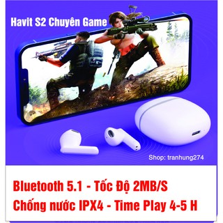 ( Chuyên Game) Tai nghe Havit S2 Bluetooth 5.1extra bass siêu hot 2021 thumbnail