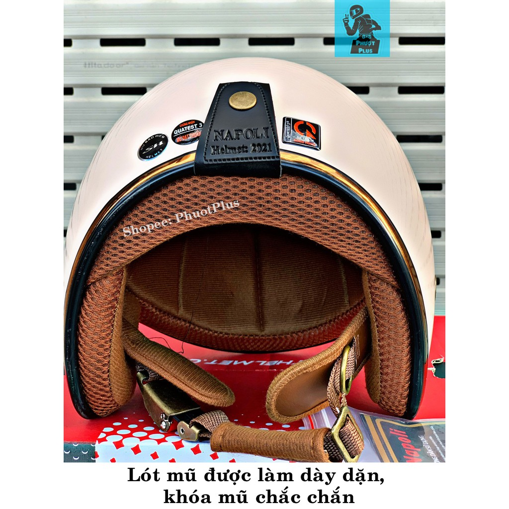 Mũ Bảo Hiểm 3/4 Đầu Napoli Sh Ruby Cao Cấp Đen Nhám - Chính Hãng Bảo Hành 12 Tháng