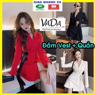 Đầm vest tay dài KÈM quần sort cao cấp đi tiệc cưới, đi bar,dạo phố, đi học, đi làm xinh xắn, sang trọng VADA - V250 thumbnail
