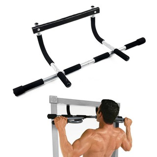[B M]220LB Doorway Pull Up Bar Strength Training Fitness Sit Ups and Dips Exercise Muscle Stretch Over Door Pull Up Bar for Home Body Workout Portable Gym System
