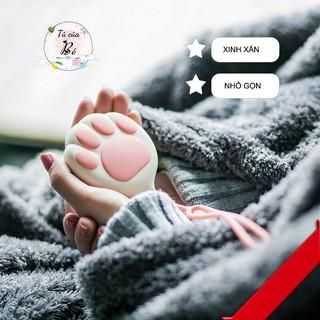 Máy sưởi ấm bàn tay Máy sưởi ấm bụng mini kiêm Sạc dự phòng hình tay mèo dễ thương chất liệu silicone