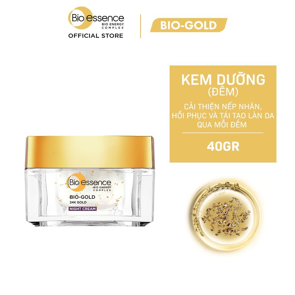 Kem dưỡng da ngăn ngừa lão hóa ban đêm Bio-Essence Bio-Gold Bio-Essence Gold Night Cream chiết xuất vàng 24k 40g