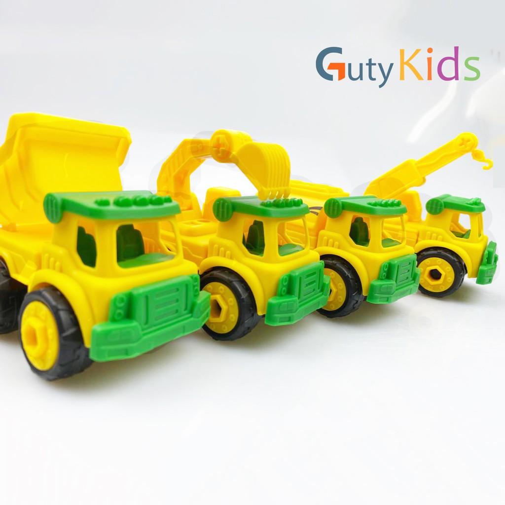 Set 4 xe ô tô mô hình lắp ráp công trình cao cấp cho bé, đồ chơi ô tô cho bé thoả sức sáng tạo