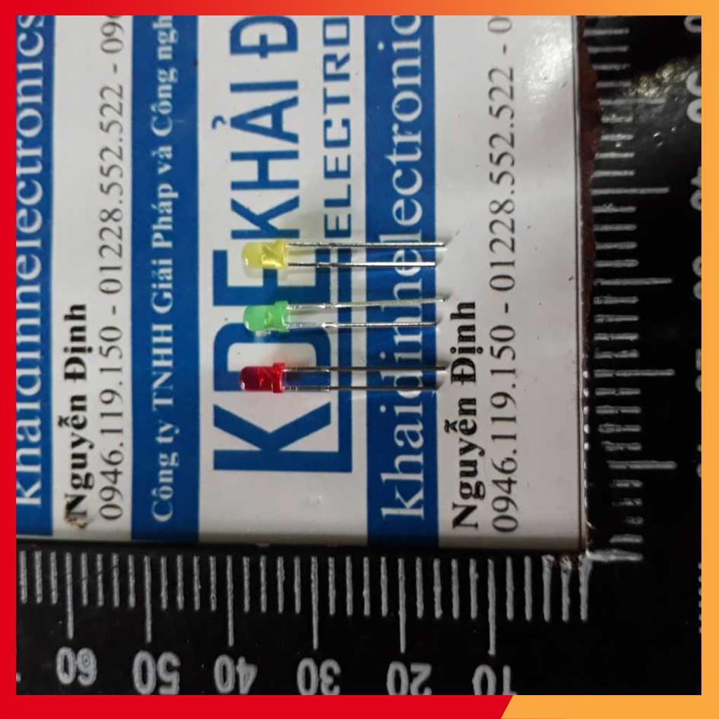 (GIÁ RẺ) led báo trạng thái, LED F3 3mm đỏ/cam/vàng/xanh lá/xanh dương/trắng (50 CON) kde2014