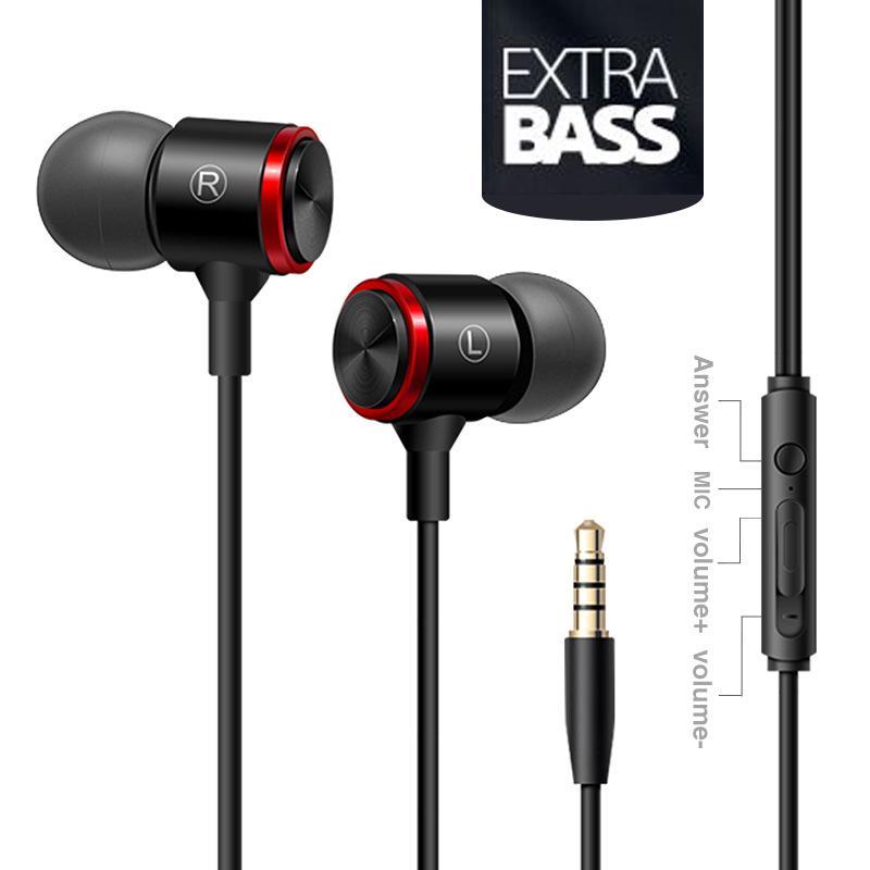 Metal Line-control Earphone 3.5mm Bass In-ear Sports Earbuds