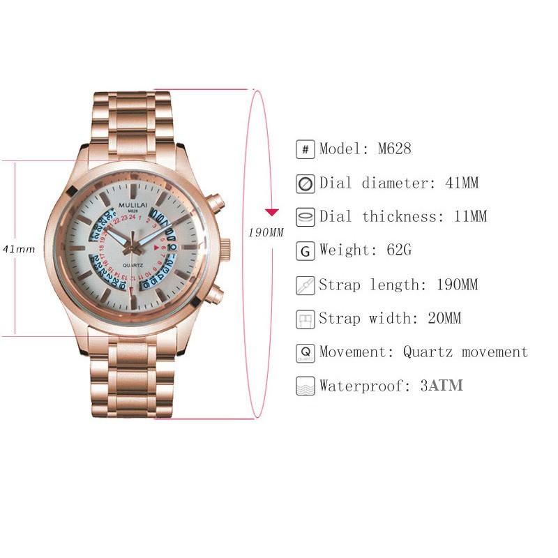 Đồng hồ nam MULILAI M999 Japan dây hợp kim thép cao cấp ( 2 màu thời trang) + Tặng vong tay tỳ hưu cao cấp