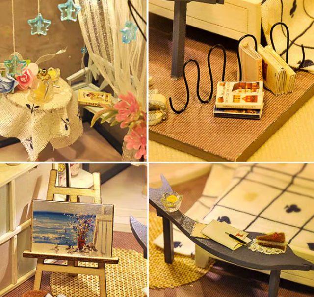 Mô hình nhà gỗ búp bê Dollhouse DIY - Kèm mica - TW27 Sea Color