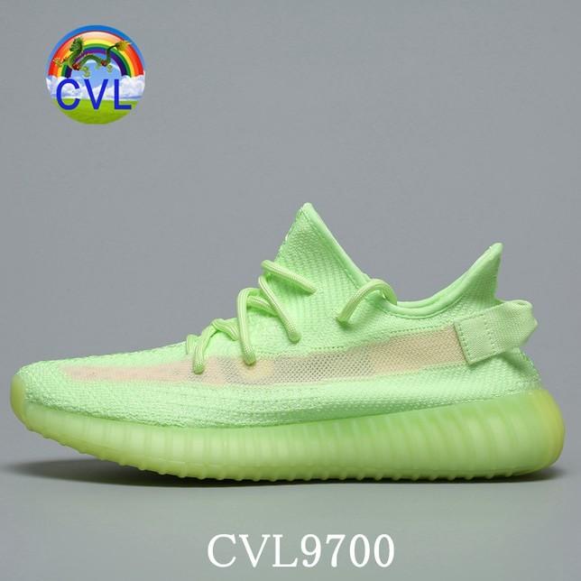 Adidas Yeezy350 Boost 350 V2 GID Static Refective Gid Glow Dừa Giới hạn châu á EG5293 Huỳnh quang xanh