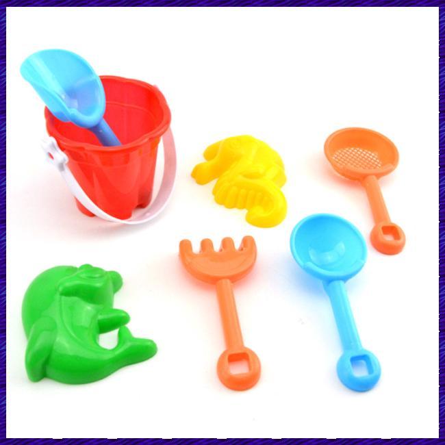 7Pcs/Set Kids Beach Sand Play Toys Simulate Bucket Shovel Rake Dredging Tools Random Style