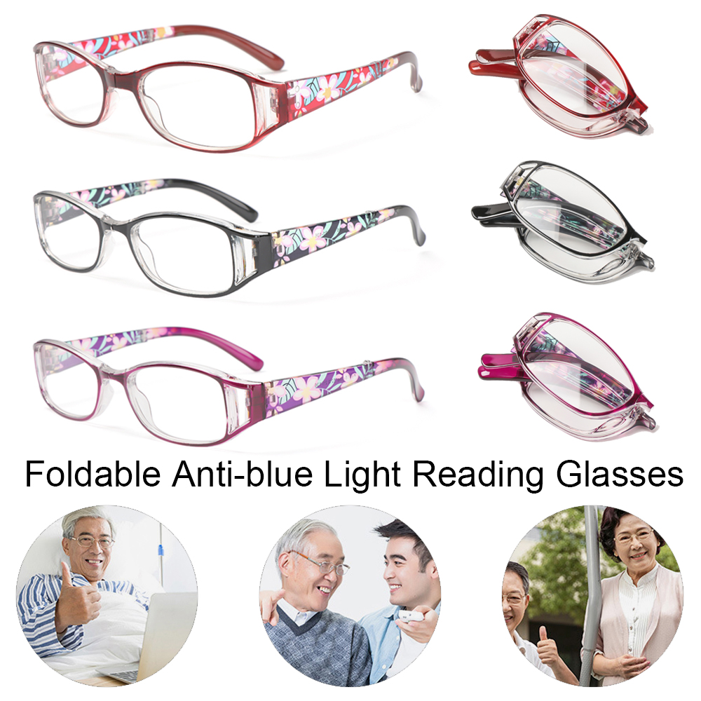 🎈FUTURE🎈 Men Women Foldable Reading Eyeglasses Radiation Protection Computer Goggles Anti-blue Light Glasses Printing Vision Care Vintage Classic Fashion Folding...