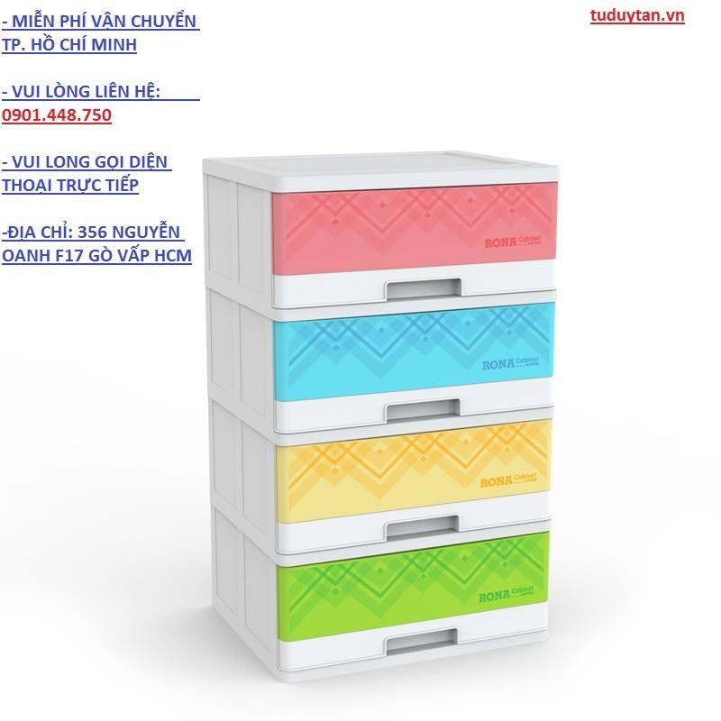 Tủ nhựa Duy Tân RONA có khóa (4 ngăn)