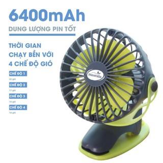 Quạt sạc tích điện mini Mastela xoay góc 720 độ, đế kẹp đa năng _ Hàng chính hãng