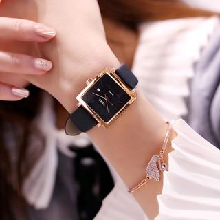 Đồng hồ thời trang nữ VISER dây da, có lịch ngày, mặt vuông tuyệt đẹp