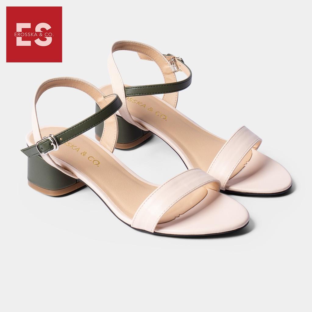 Giày sandal cao gót Erosska thời trang mũi tròn phối dây nhiều màu tinh tế cao 3cm màu xanh phối kem - EB019