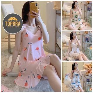 Váy Ngủ Hai Dây Đầm Ngủ Thun Sữa In Hoạ Tiết Mềm Mịn Có Đệm Ngực Đuôi Xếp Li (Tặng Kèm Bịt Mắt) TOPBRA