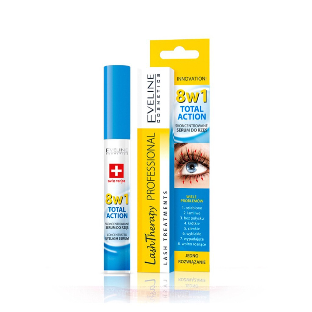 Huyết thanh Dưỡng mi Eveline 8 in 1 Total Action Lash Therapy professional xách tay có BILL