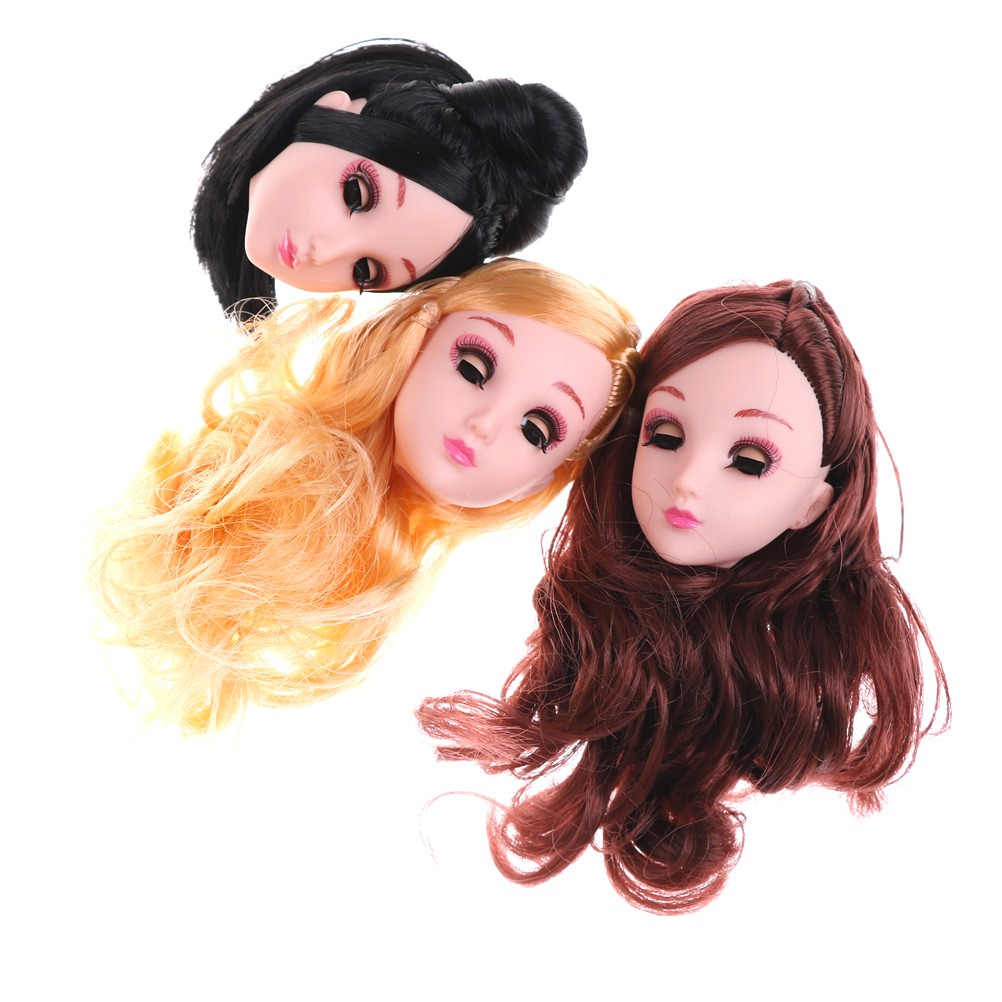 $VN Kids Toy 4D Winking Doll Head with Hair DIY Accessory For 1/6 BJD Barbie Dolls ZNS 1126
