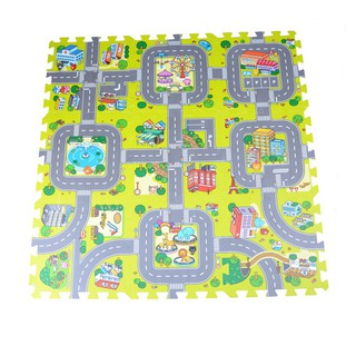 WHVN 9pcs Baby EVA foam puzzle play floor mat Education traffic route ground pa spur