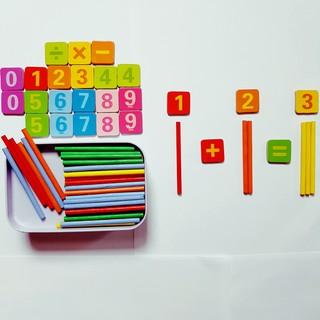Bảng chữ số nam châm + que tính gỗ puzzle